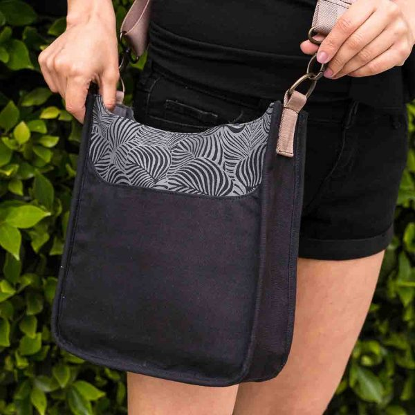 black and grey leaf print bag