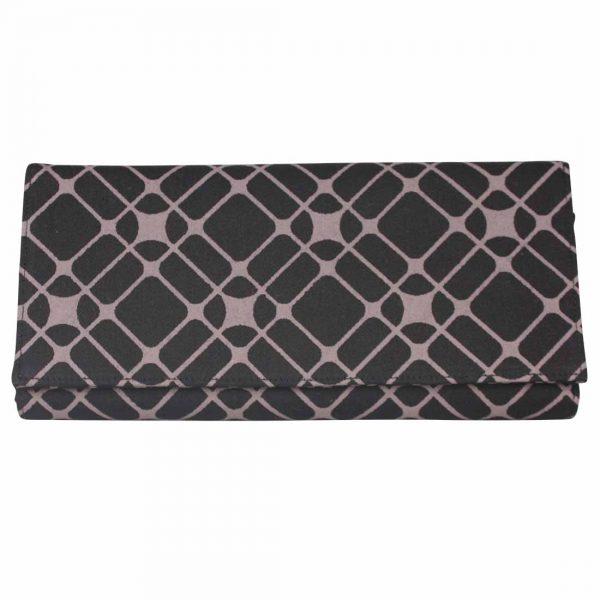black and mauve wallet