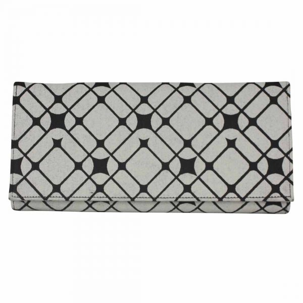 black and white long wallet